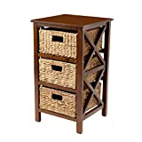 eHemco 3 Tier X-Side End Table/Cabinet Storage with 3 Baskets, Walnut