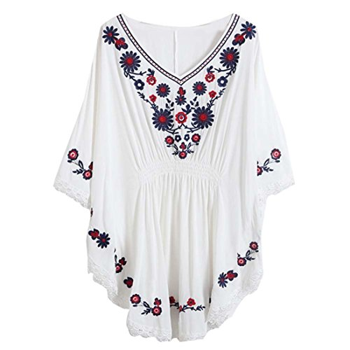 Kafeimali Women's Batwing Dressy Tunic Peasant Tops Mexican Embroidery Blouse (White)