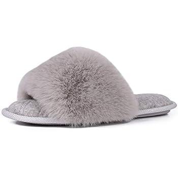 LongBay Women s Fuzzy Faux Fur Memroy Foam Flat Spa Slide Slippers Open Toe House Shoes Sandals  Medium/ 7-8 Gray