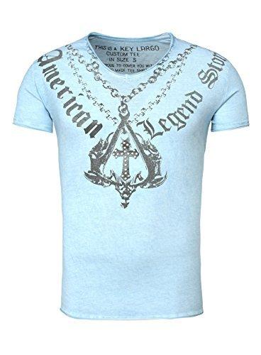KEY LARGO Hombres T-Shirt New Stories con Remaches Cruz Cadena Chain Vintage Busque American Legend Sommershirt Luz Azul M (Ropa)