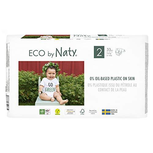 Eco by Naty, Größe 2, 132 Windeln, 3–6kg, MONATSVORRAT, pflanzliche Premium-Bio‑Windeln mit 0% Plastik auf der Haut