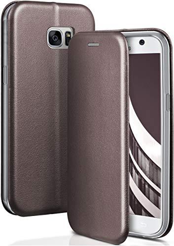 ONEFLOW Handyhülle kompatibel mit Samsung Galaxy S7 - Hülle klappbar, Handytasche mit Kartenfach, Flip Hülle Call Funktion, Klapphülle in Leder Optik, Taupe