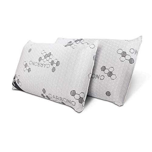 Don Descanso Pack 2 Almohadas Viscoelásticas Carbono con Copos 100% Viscoelásticos, 70cm, Firmeza Media, Ergonómicas,...