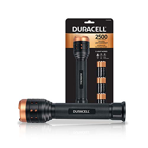 Duracell 2,500 Lumen Aluminum Focusing Flashlight for Everyday Use - Ultra-Light and Easy to Carry Design with 3 Modes and 9-AA Batteries Included. Great for In-Door & Out-Door Use