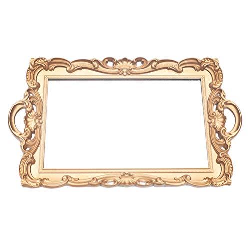 DOITOOL Oro Specchio Vassoio Decorativo retrò Ornato Decorazioni da Tavola 38X24 Centimetri per Comò Vanità Bagno di Servizio dei Monili di Trucco Profumo Dell'organizzatore di