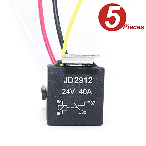 DollaTek JD2912 Autorelais kabelset 24 V 40 A 4-pins SPST kabelset stopcontacten met gekleurde draden voor Automotive Truck Van Motorcycle Boat