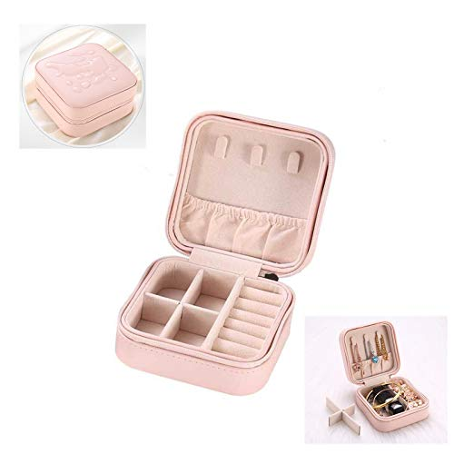 Jsdoin Mini Jewellery Box Organizer Faux Leather for Travel, Storage Case for Rings, Earring, Necklaces Gift for Girls Mother Women(pink)