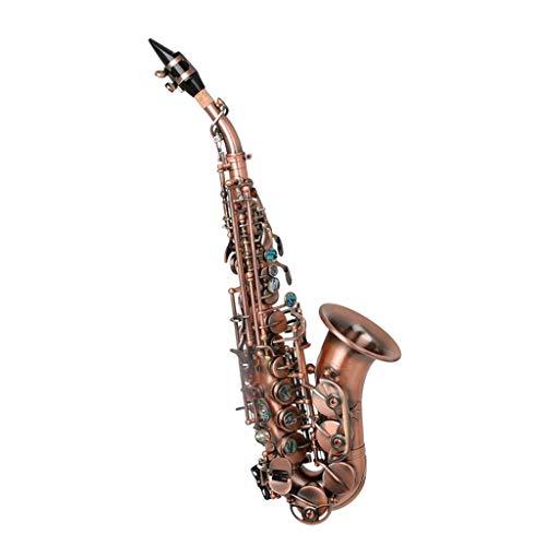 ZHNA-Saxophon Saxophon bB Sopran, Messing Saxophon in B Curved Sopran Saxophon West Instrument Saxophon mit Zubehör