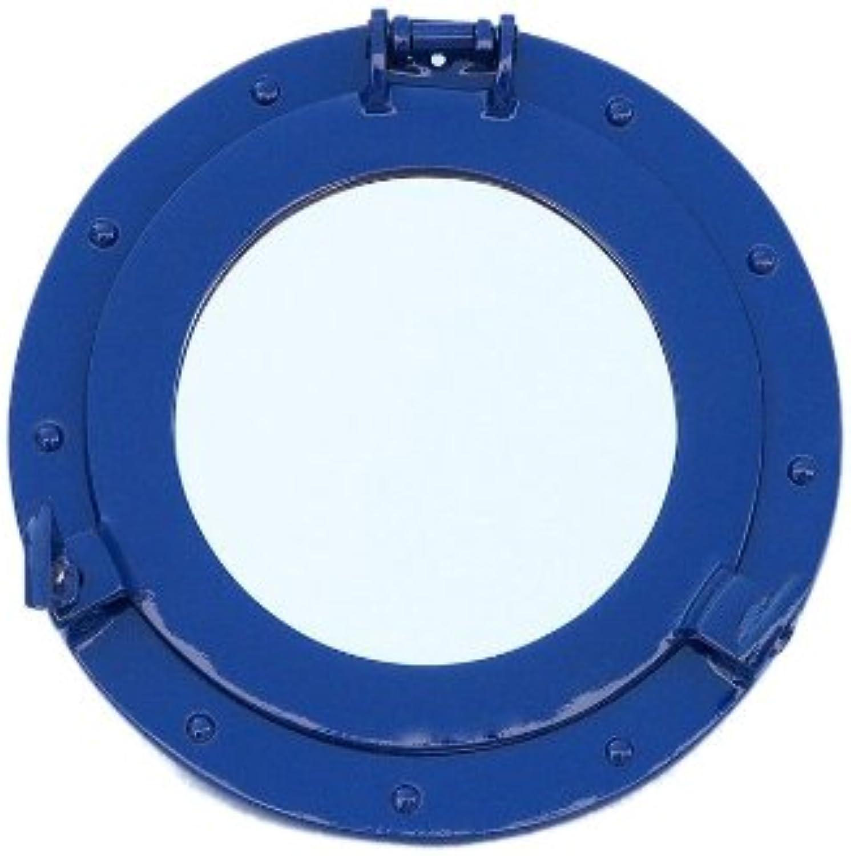 Hampton Nautical Deluxe Class Brass Porthole Mirror, 12 , Dark bluee, Brass