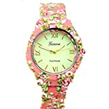 Geneva Fashion Chunky Watch Wrist Floral Flower Print Fashion Bracelet Watch Jewelry (Coral/Pink)