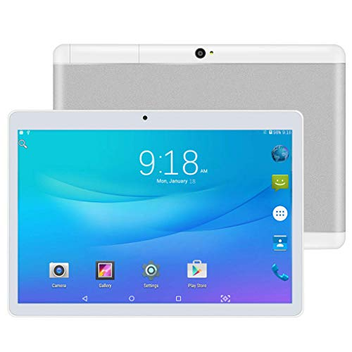 10 inch Google Android 7.0 Nougat System Tablet Unlocked Pad with Dual SIM Card Slot XINYANGCH 10.1' IPS Screen 4GB RAM 64GB ROM 3G Phablet Built-in Bluetooth WiFi GPS Tablets (Metallic Silver)