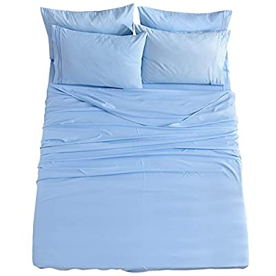 King Size 6-Piece Bed Sheets Set Microfiber 1800 Thread Count Percale 16 Inch Deep Pockets Super Soft and Comforterble Wrinkle Fade and Hypoallergenic(King, Lake Blue)