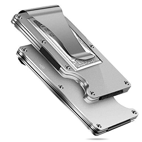 MUCO Porta Carte Di Credito Portafoglio Protezione RFID Metallo Leggero Viaggiare Quotidianamente Uomo Donna Sicurezza Fermasoldi Argento