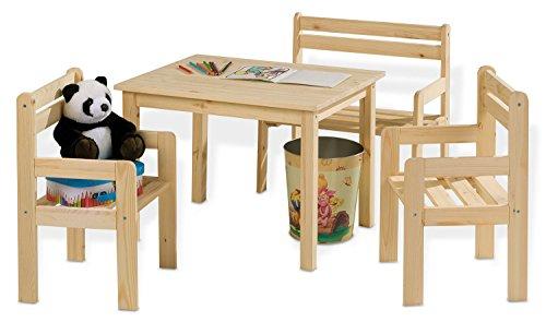 Home4You 4-teilige Sitzgruppe Kindersitzgruppe Kindertischgruppe Holzsitzgruppe | Mit Kindertisch, Sitzbank und Zwei Stühlen | Kiefernholz Massiv | Naturfarben