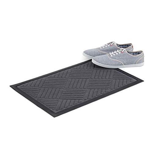 Relaxdays Paillasson tapis d'entrée antidérapant en caoutchouc intérieur extérieur rayures 40 x 60 cm, gris