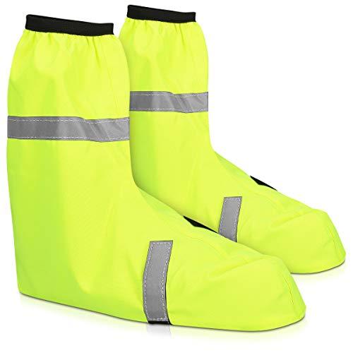 Navaris Fundas Impermeables para Zapatos - Cubre Zapatos Reflectante para Bici o Moto - Polainas contra Lluvia Lodo para Botas Calzado - Talla 44-46