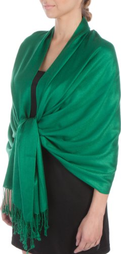 Sakkas Large Soft Silky Pashmina Shawl Wrap Scarf Stole in Solid Colors - Emerald Green