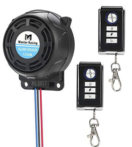 Rupse Motorrad Alarmanlage, Alarm mit 2 Fernbedienung Wasserdicht Diebstahlsicherung Einstellbare Empfindlichkeit für alle Roller Moped oder Quad mit 12 Volt
