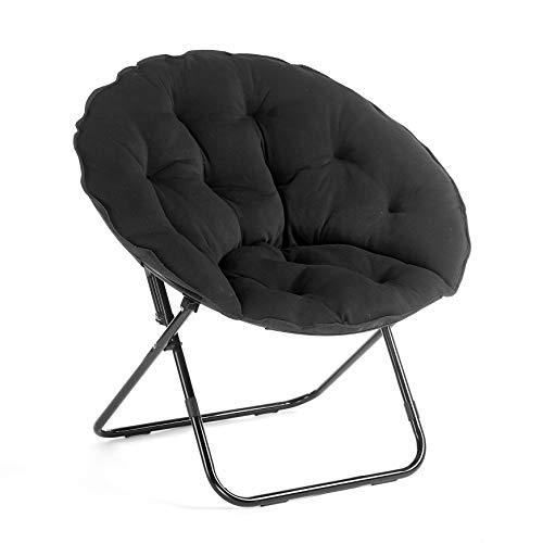 Urban Shop Folding Saucer Chair with Metal Frame, Black Jersey, 34