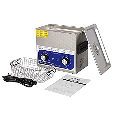 ROVSUN Ultrasonic Cleaner, Knob Control Timer Heater Adjustable Stainless Steel Ultrasonic Cleaning Machine, for Jewelry Watches Dentures Glasses Metal Parts, 3L/6L/10L 40KHz 110V US Plug