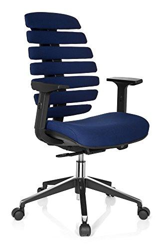hjh OFFICE 714510 Chaise de bureau ergonomique ERGO LINE II chaise de bureau avec support lombaire, revêtement en tissu bleu