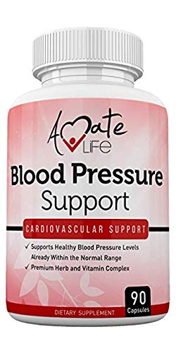 Lower Blood Pressure Health Formula - Blood Pressure Pills Supplement with Hawthorne, Garlic, Hibiscus & Olive Leaf- Heart Health Supplements for High Blood Pressure 90 Capsules by Amate Life