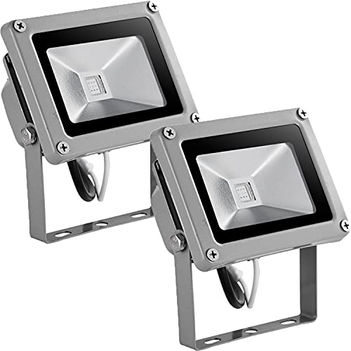 10W Foco LED RGB de Colores, Focos LED Exterior IP65Impermeable con Mando a Distancia, 16 colores 4 modos Ritmo Musical Aplique Pared Exterior para Jardín Fiesta Navideña Iluminación (2 Pack)
