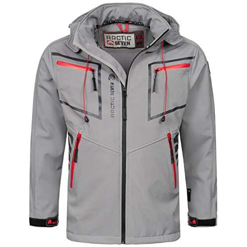 Arctic Seven Herren Designer Softshell Funktions Outdoor Regen Jacke Sport AS088 [AS-088-Hellgrau-Gr.5XL]