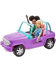 Barbie GMT46 – Beach Jeep i lila, fordon med plats för 2 dockor, docktillbehör, leksak från 3 år