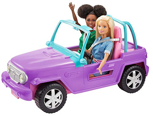 ?Barbie Off-Road Vehicle, Purple with Pink Seats and Rolling Wheels, 2 Seats, Gift for 3 to 7 Year Olds