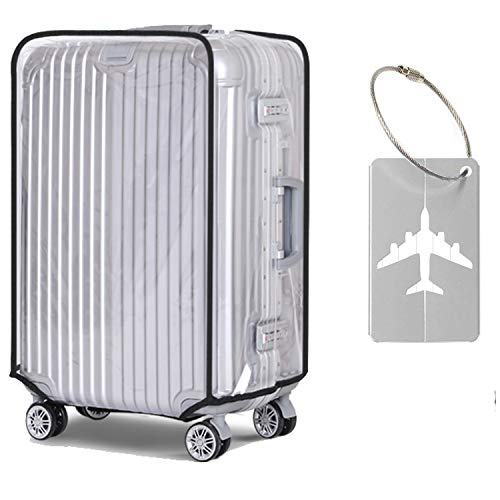 Alledomain Transparent Travel Luggage Cover Waterproof Dust-Proof PVC Protectors Include 1 Luggage Tag - Fits for 30 Inch Suitcase (53cm L x 34cm W x 72-76cm H)