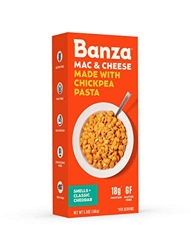Banza Chickpea Pasta Shells and Cheese with Classic Cheddar – High Protein, Gluten Free Mac and Cheese, Healthy Macaroni and Cheese (Pack of 6)