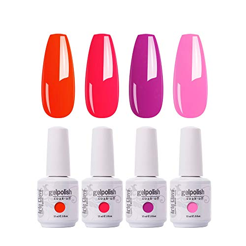Arte Clavo 15ml Gel Nail Polish Set,4 Pcs Neon Red Hot Pink Gel Polish Kit Soak Off LED Nail Lamp Cured Base and Top Coat Nail Art Salon DIY at Home B16