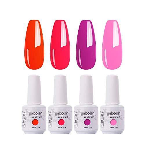 Arte Clavo 15ml Gel Nail Polish Set ,4 Pcs Neon Red Hot Pink Gel Polish Kit Soak Off LED Nail Lamp Cured Base and Top Coat Nail Art Salon DIY at Home B16