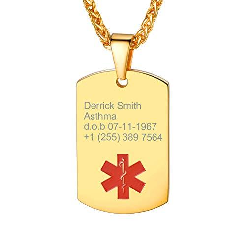 Custom4U Acero Inoxidable Chapado en Oro Amarillo 18K Collar ID Alerta Medical Etiqueta de Perro Personalizado Letras Grabar Láser Gratis Regalo para Ancianos Enfermos
