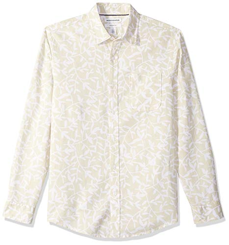 Amazon Essentials - Camisa de lino con manga larga, corte entallado y estampado para hombre, Natural Leaf Print, US XXL (EU XXXL - 4XL)