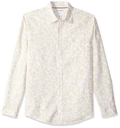 Amazon Essentials Herren-Leinenshirt, Langarm-Shirt, schmale Passform, geblümt, Natural Leaf Print, XL