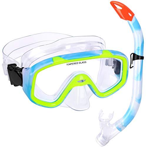 Kinder Schnorchelset Schnorcheln Taucherbrille mit 180° Panorama Sichtfeld Tauchmaske Schnorchelmaske Tauchen Set wasserdichte Schnorchelbrillen für Junge Mädchen (Blau mit gelb)