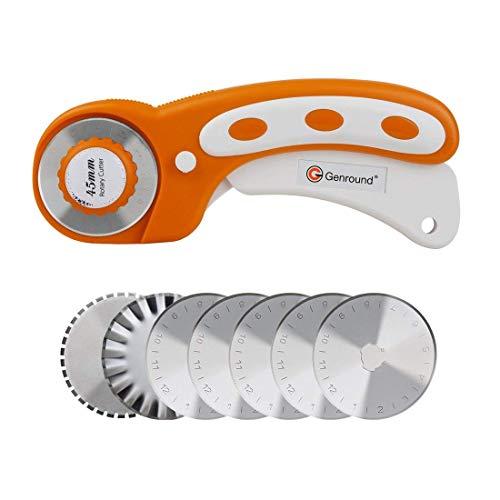 Cutter Rotatif,Genround Kit de Cutter Rotatif Couture,45mm Couteau Rotatif avec 7 Lame de Recharge pour Couper du Tissu,du Papier,du Cuir,des Fournitures d'artisanat,des Accessoires de Courtepointe