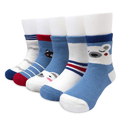 Adorel Jungen Socken Frottee Gefüttert Strümpfe 5er-Pack Bärchen 27-29 (Herstellergröße L)