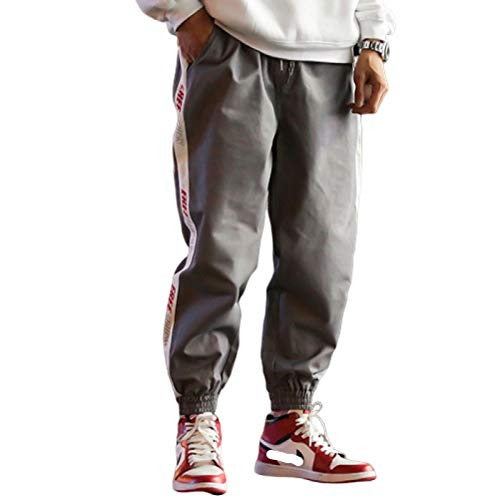 Huntrly Men's Harem Trousers Letter Printed Casual Sweatpants Loose Resistant XXL Gray