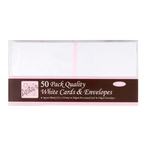 Vierkante kaarten met enveloppen van Anita, wit, 50 stuks