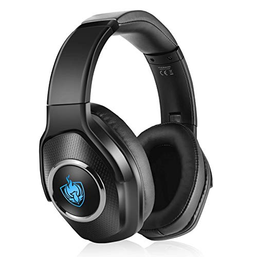 Auriculares PS4, Auriculares para Juegos con Cable para Xbox One, PC, Auriculares Inalámbricos Bluetooth Plegables de Baja Latencia con Sonido Envolvente 7.1, Luz RGB - Plateado