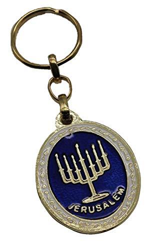 Body-Soul-n-Spirit Israel Menorah Goldfarbe Schlüsselringkette Judentum Israelisches Geschenk Anhänger Judaica 2-seitig Schlüsselkette Jerusalem