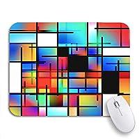 NINEHASA 可愛いマウスパッド ブルーカラーカラフルな幾何学的なモンドリアン風の3Dレンダリングポップノンスリップラバーバッキングマウスパッド(ノートパソコン、マウスマット)