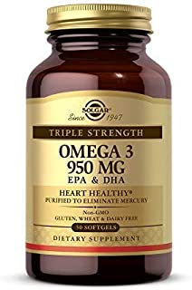 Solgar Triple Strength Omega-3 950 mg, 50 Softgels - Supports Cardiovascular, Joint and Skin Health - Heart Healthy Supple...