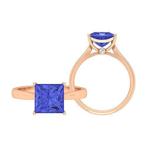 Anillo de tanzanita de corte princesa de 8 mm, 1,5 mm D-VSSI, anillo de compromiso de oro (calidad AAA), 14K Oro rosa, Size:EU 53