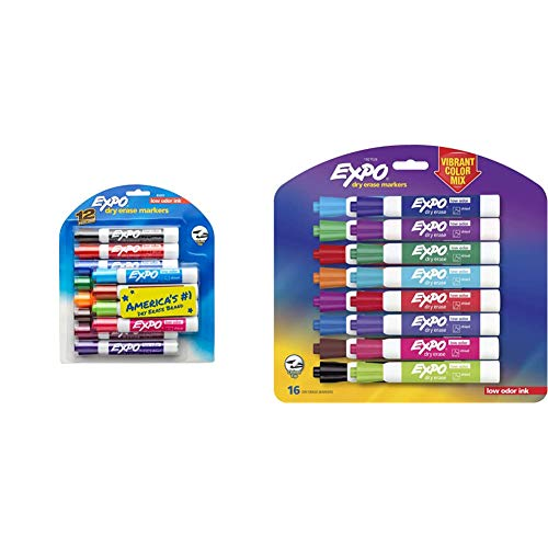 EXPO Low Odor Dry Erase Markers, Chisel Tip, Assorted Colors, 12 Count & 1927526 Low-Odor Dry Erase Markers, Chisel Tip, Vibrant Colors, 16-Count