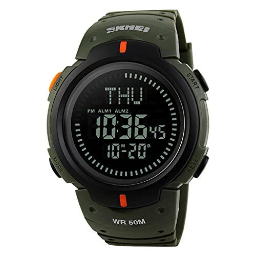 JTTM Relojes, Reloj Digital para Hombres, 50M Cronógrafo Impermeable para Exteriores Relojes Deportivos para Hombres con Retroiluminación LED Y Alarma,Verde