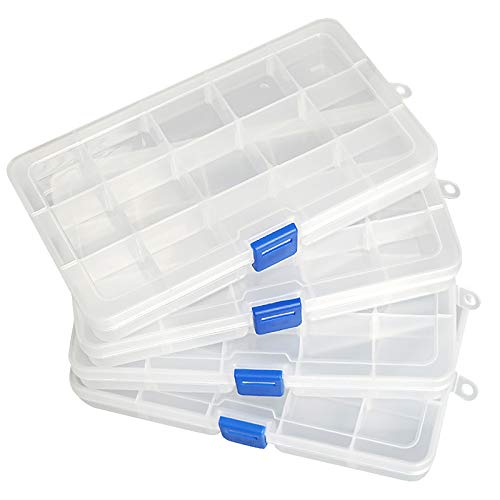 Qualsen 4 Pack Plastic Compartment Box with Adjustable Dividers Craft Tackle Organizer Storage Containers Box 15 Grid (Clear)